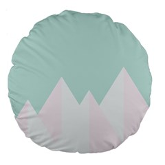 Montain Blue Snow Chevron Wave Pink Large 18  Premium Flano Round Cushions by Mariart