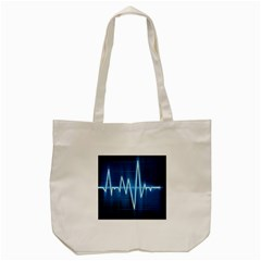 Heart Monitoring Rate Line Waves Wave Chevron Blue Tote Bag (cream) by Mariart
