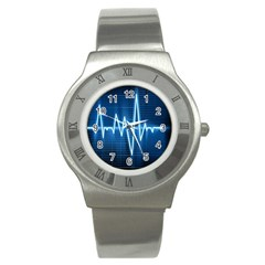 Heart Monitoring Rate Line Waves Wave Chevron Blue Stainless Steel Watch by Mariart