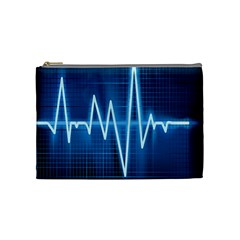 Heart Monitoring Rate Line Waves Wave Chevron Blue Cosmetic Bag (medium)  by Mariart