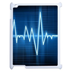Heart Monitoring Rate Line Waves Wave Chevron Blue Apple Ipad 2 Case (white) by Mariart