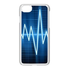 Heart Monitoring Rate Line Waves Wave Chevron Blue Apple Iphone 7 Seamless Case (white) by Mariart