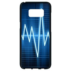 Heart Monitoring Rate Line Waves Wave Chevron Blue Samsung Galaxy S8 Black Seamless Case by Mariart