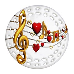 Music Notes Heart Beat Round Filigree Ornament (two Sides) by Mariart