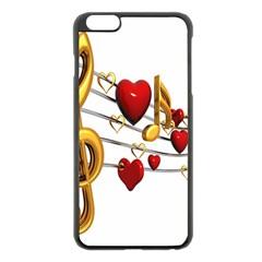 Music Notes Heart Beat Apple Iphone 6 Plus/6s Plus Black Enamel Case by Mariart