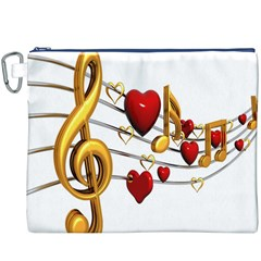 Music Notes Heart Beat Canvas Cosmetic Bag (xxxl) by Mariart