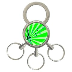 Music Notes Light Line Green 3 Ring Key Chains by Mariart