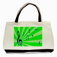 Music Notes Light Line Green Basic Tote Bag by Mariart