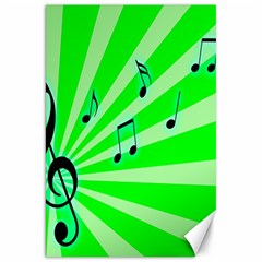 Music Notes Light Line Green Canvas 20  X 30   by Mariart