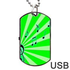 Music Notes Light Line Green Dog Tag Usb Flash (one Side) by Mariart