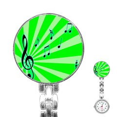 Music Notes Light Line Green Stainless Steel Nurses Watch by Mariart