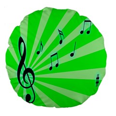 Music Notes Light Line Green Large 18  Premium Flano Round Cushions by Mariart