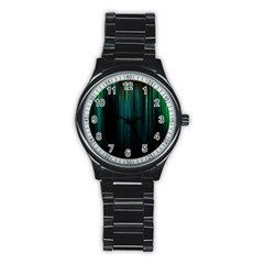 Lines Light Shadow Vertical Aurora Stainless Steel Round Watch by Mariart