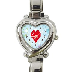 Red Heart Love Plaid Red Blue Heart Italian Charm Watch by Mariart