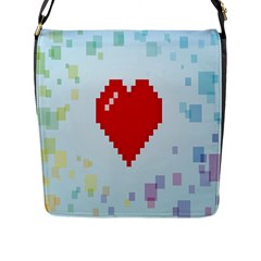 Red Heart Love Plaid Red Blue Flap Messenger Bag (l)  by Mariart