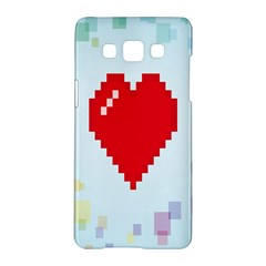 Red Heart Love Plaid Red Blue Samsung Galaxy A5 Hardshell Case  by Mariart