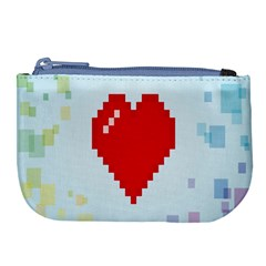 Red Heart Love Plaid Red Blue Large Coin Purse by Mariart