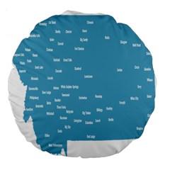 Peta Anggota City Blue Eropa Large 18  Premium Flano Round Cushions by Mariart