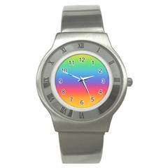 Plaid Rainbow Retina Green Purple Red Yellow Stainless Steel Watch by Mariart