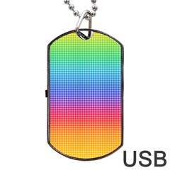 Plaid Rainbow Retina Green Purple Red Yellow Dog Tag Usb Flash (two Sides) by Mariart