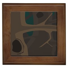 Tree Jungle Brown Green Framed Tiles by Mariart