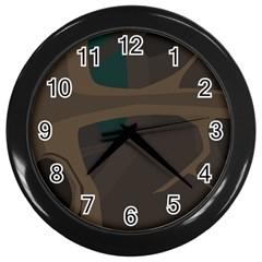 Tree Jungle Brown Green Wall Clocks (black) by Mariart