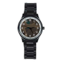 Tree Jungle Brown Green Stainless Steel Round Watch by Mariart
