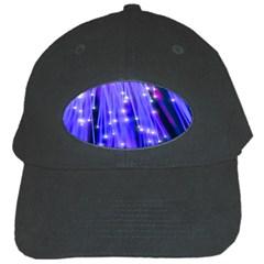 Neon Light Line Vertical Blue Black Cap by Mariart