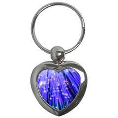 Neon Light Line Vertical Blue Key Chains (heart)  by Mariart