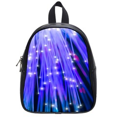 Neon Light Line Vertical Blue School Bags (small)  by Mariart