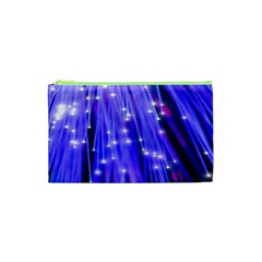 Neon Light Line Vertical Blue Cosmetic Bag (xs) by Mariart