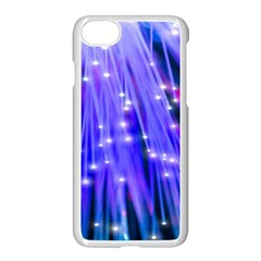Neon Light Line Vertical Blue Apple Iphone 7 Seamless Case (white) by Mariart