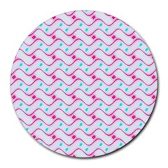 Squiggle Red Blue Milk Glass Waves Chevron Wave Pink Round Mousepads by Mariart