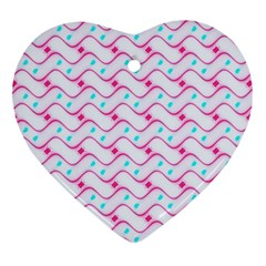 Squiggle Red Blue Milk Glass Waves Chevron Wave Pink Heart Ornament (two Sides) by Mariart