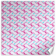 Squiggle Red Blue Milk Glass Waves Chevron Wave Pink Canvas 16  X 16   by Mariart