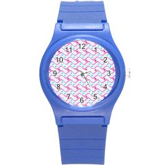 Squiggle Red Blue Milk Glass Waves Chevron Wave Pink Round Plastic Sport Watch (s) by Mariart