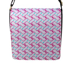 Squiggle Red Blue Milk Glass Waves Chevron Wave Pink Flap Messenger Bag (l)  by Mariart