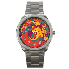 Abstract Art Sport Metal Watch by ValentinaDesign