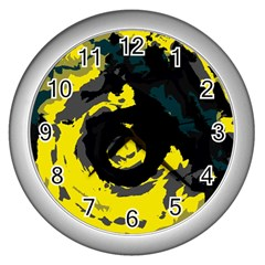 Abstract Art Wall Clocks (silver)  by ValentinaDesign