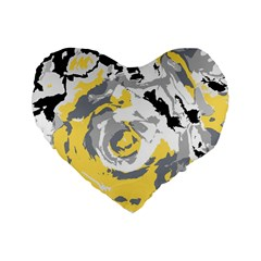 Abstract Art Standard 16  Premium Flano Heart Shape Cushions by ValentinaDesign
