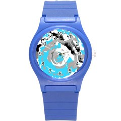 Abstract art Round Plastic Sport Watch (S)