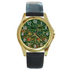 Unique Abstract Mix 1c Round Gold Metal Watch