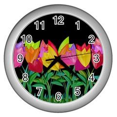 Tulips Wall Clocks (silver)  by ValentinaDesign