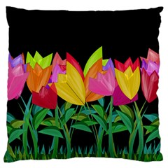 Tulips Large Cushion Case (one Side) by ValentinaDesign