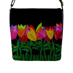 Tulips Flap Messenger Bag (l)  by ValentinaDesign