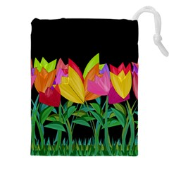Tulips Drawstring Pouches (xxl) by ValentinaDesign