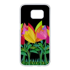 Tulips Samsung Galaxy S7 Edge White Seamless Case by ValentinaDesign
