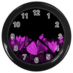 Tulips Wall Clocks (black) by ValentinaDesign