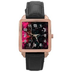 Abstract Design Rose Gold Leather Watch  by ValentinaDesign