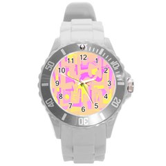 Abstract Art Round Plastic Sport Watch (l) by ValentinaDesign